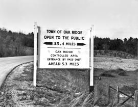 Oak Ridge sign. Photo courtesy of DOE-Oak Ridge