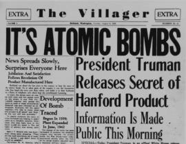 Richland newspaper announcing the atomic bombing of Hiroshima