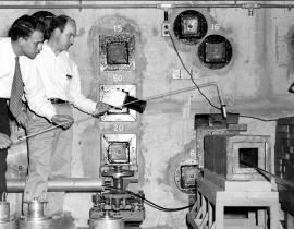 Sale of First Radioisotope Clinton Laboratory 1946 shipped to Barnard Free Skin and Cancer Hospital St. Louis. Photo courtesy of DOE.