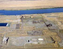 An aerial view of the Hanford site