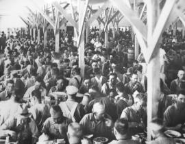 A full mess hall at Hanford during the Manhattan Project