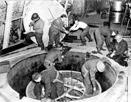 The Alsos Mission dismantling the German experimental pile at Haigerloch. Photo: Brookhaven National Laboratory, courtesy AIP Emilio Segrè Visual Archives, Goudsmit Collection.
