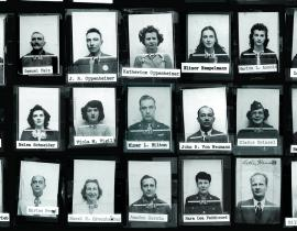 ID badge photos of Los Alamos scientists and personnel