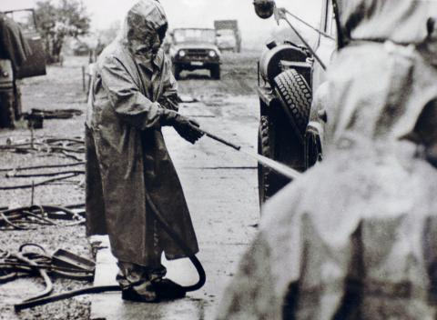 Military reservist during decontamination activities at Chernobyl. Photo Credit: USFCRFC from IAEA Imagebank Flickr