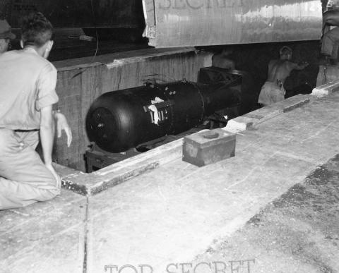 Little Boy ready to be lifted into the Enola Gay