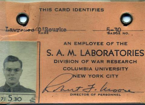 Lawrence O'Rourke SAM badge. Courtesy Larry O'Rourke.