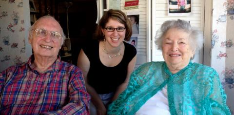 Larry and Evelyne Litz with AHF Program Director Alexandra Levy