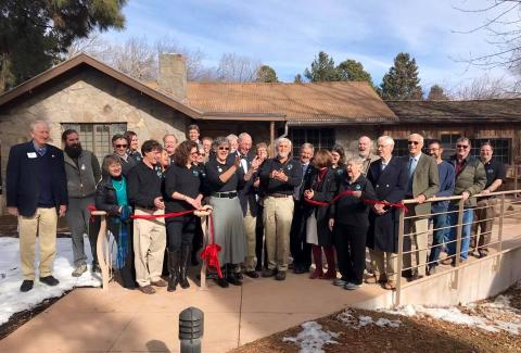The ribbon cutting. Photo courtesy of the Los Alamos History Museum.