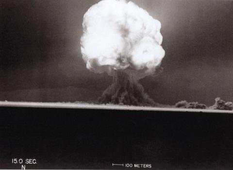 The Trinity test, 15 seconds after detonation. Photo courtesy of David Wargowski.