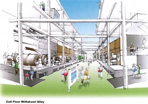Concept design of the withdrawal alley exhibit at the K-25 interpretive site, by Gerard Hilferty and Associates