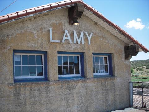 Lamy train station in Santa Fe, where scientists and their families would arrive and then be taken to Los Alamos