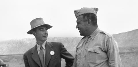 J. Robert Oppenheimer and General Leslie R. Groves after the Trinity test