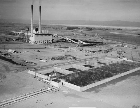 A retention basin at Hanford
