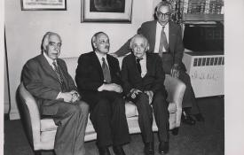 A signed portrait of Niels Bohr, James Franck, Albert Einstein, and Isidor I. Rabi