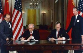 President George H. W. Bush and President Mikhail Gorbachev sign United States/Soviet Union agreements to end chemical weapon production and begin destroying their respective stocks, 1990. Photo courtesy of the George Bush Presidential Library.