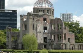 The Hiroshima Atomic Dome, the only building left standing near the epicenter of the bombing.