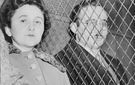 Julius and Ethel leaving court after being found guilty, 1951.
