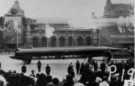 A Soviet R-12 intermediate-range ballistic missile in Red Square, Moscow