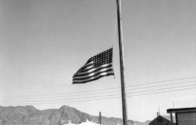 Flag at Trinity Site at half-staff in remembrance of Roosevelt