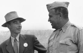 J. Robert Oppenheimer and General Leslie Groves after the Trinity Test