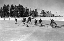 Los Alamos Boys Ranch School students playing hockey on Ashley Pond