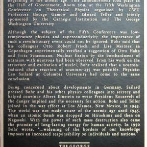 Announcement of the Atomic Age GWU Plaque