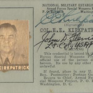 Special Weapons ID Card, 1949.