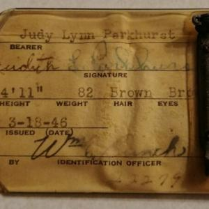 Judith's Oak Ridge ID Badge, 1946