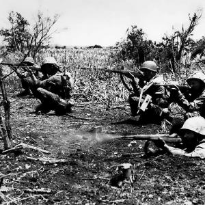 Marines fight the last remaining Japanese on Tinian
