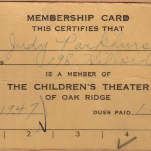 Judith's Theater membership card, 1947, Oak Ridge
