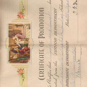 Judith's Certificate of Promotion, Sunday School, 1947