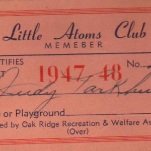 "Judith's ""Little Atom Club"" Member Card, 1947-1948"