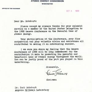 Letter sent by the AEC to Jack in 1955.