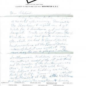 Letter from Ted Petry to his wife, Adeline, while he was in Washington DC for the meeting with President Kennedy, 1962. Courtesy of Joseph Dowling