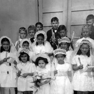 Dimas Chavez and his First Communion class at Los Alamos
