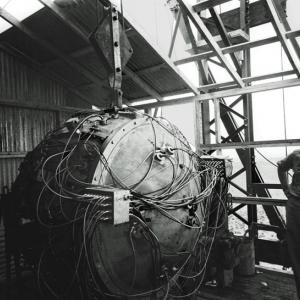 """Norris Bradbury with the """"Gadget"""" on top of the Trinity test tower"""
