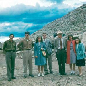 Dick Davidson, Hans Courant, Elise Cunningham, Val Fitch, Ray Taylor, Doris Taylor and Evelyn Cline