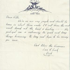 Letter from Dick Kennan to his family on June 30, 1946