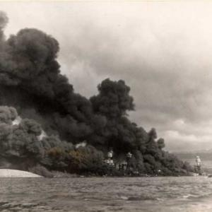 Battleship Row during the attack