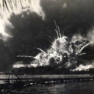 Destroyer USS Shaw exploding after her forward magazine was detonated