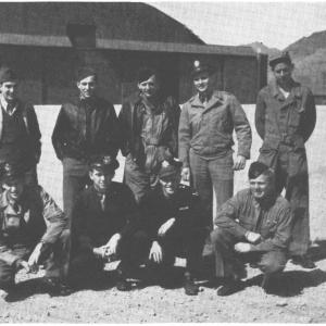 A-5 Crew. Chapman is kneeling in the bottom row, fourth from the left. Photo courtesy of the 509th Pictorial Album and Richard H. Campbell.
