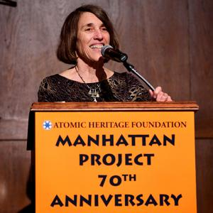 AHF President Cindy Kelly opening the Manhattan Project Reunion