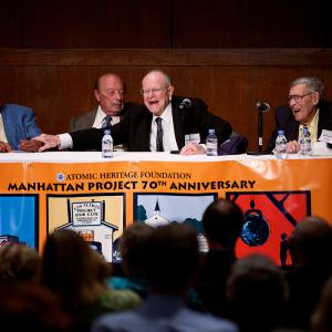 William E. Tewes (R) speaking at the 70th anniversary events, on a panel with James Forde, Dieter Gruen, and Lawrence S. O'Rourke