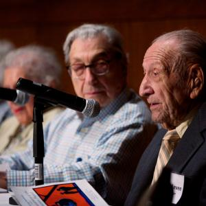 Chicago and Hanford panel: Harold Harris Levee speaks as Dr. Isabella Karle, Irene LaViolette, and James Schoke look on
