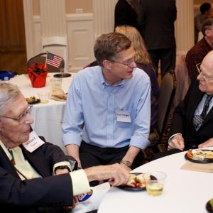 Oak Ridge veteran William E. Tewes (L) and Larry O'Rourke (R) with Thomas Trauger, son of their friend Donald Trauger