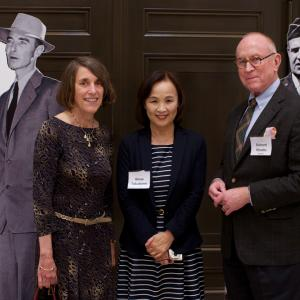 AHF President Cindy Kelly, Kinue Tokudome, and Richard Rhodes with Oppie and Groves