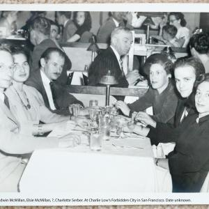 L to R: Robert Serber, ?, Edwin McMillan, Elsie McMillan, Charlotte Serber, ?, ?. At Charlie Low's Forbidden City in San Francisco. Photo courtesy of Ann Chaikin.