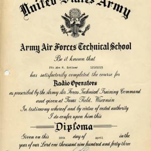 Air Force Radio Operator School Diploma for Abe Spitzer