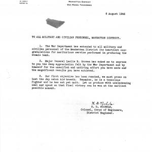 Letter of appreciation Katz received from Col. Nichols.