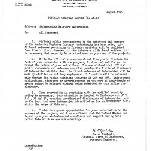 Memo from Col. Nichols regarding secrecy and appropriate disclosure of Manhattan Project information.